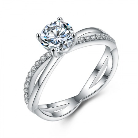 925 Sterling Silver Inlaid 1ct Cubic Zirconia Engagement Ring