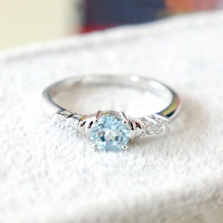 Pure Natural Aquamarine 925 Silver Platinum Engagement Ring