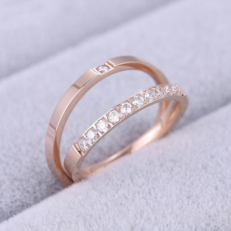 Korean Fashion Plated 18K Rose Gold Titanium Steel Couple Rings