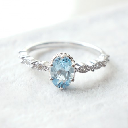 Beautiful Slim 925 Silver Rhodium-Plated Gemstone Ring
