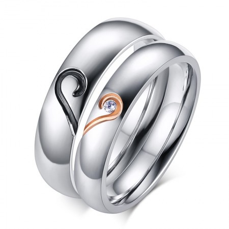 Featured High Polished Titanium Steel Couple Puzzle Rings