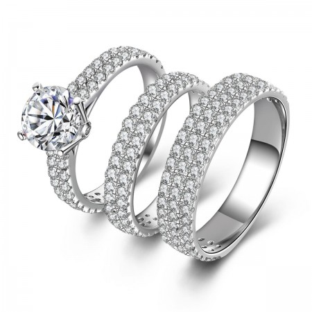 Valentine's Day Gifts 925 Sterling Silver Mosaic Cubic Zirconia Couple Rings