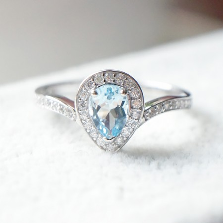 925 Silver Plated White Gold Inlaid Classic Drop-Shaped Aquamarine Ring