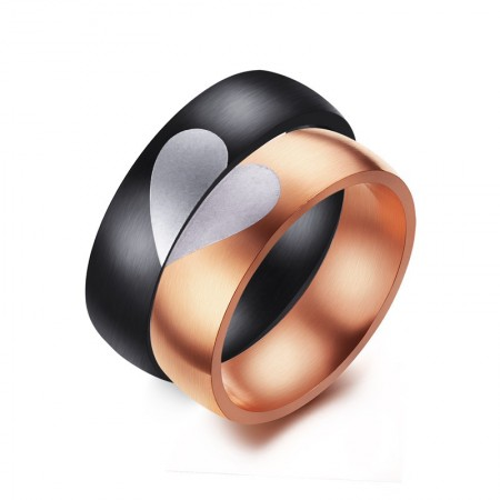 """New Stainless Steel Plated Rose Gold """"Have Mutual Affinity"""" Couple Rings"""