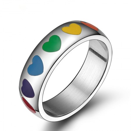 Fashion Rainbow Love Heart Ring For Women Stainless Steel Couple Wedding Jewelry Cute Heart Shaped Ring