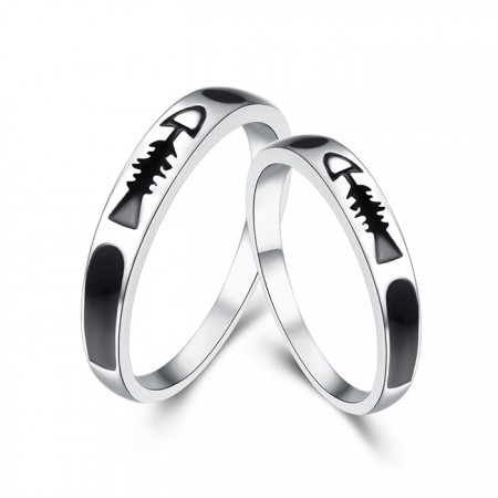 925 Sterling Silver Creative Fish Bones Boutique Couple Rings
