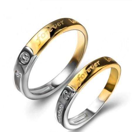 """New Korean """"Forever Love"""" S925 Sterling Silver Couple Rings"""