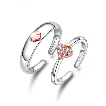 925 Silver Plated Platinum Heart-Shaped Simple Adjustable Couple Rings