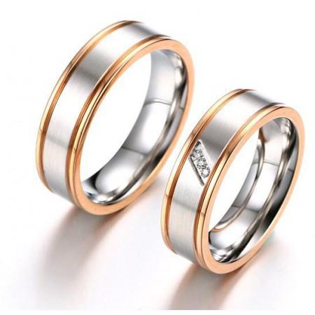 Korean Version Of Rose Gold Edge Engraved Titanium Steel Couple Rings