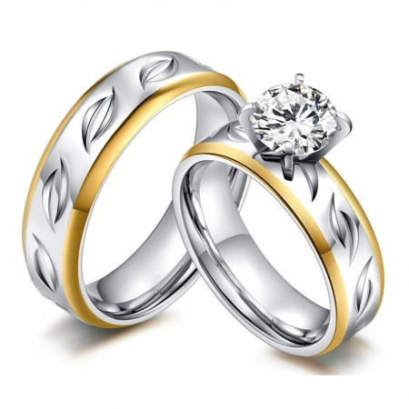 Popular Gold Rim Engraved Silk-Shaped Cubic Zirconia Couple Rings