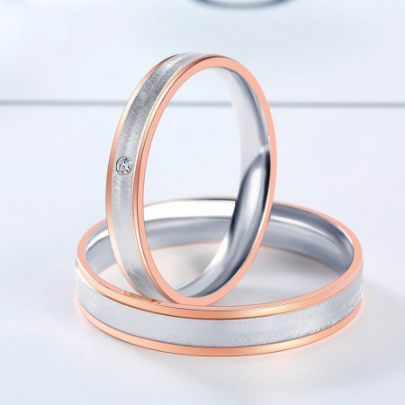925 Sterling Silver Plated Rose Gold Wild Lettering Couple Rings