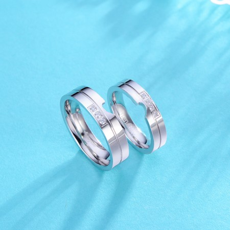 Exquisite 925 Sterling Silver Have Mutual Affinity Couple Rings