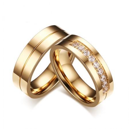 Korean New Titanium Steel Inlaid Cubic Zirconia Golden Couple Rings