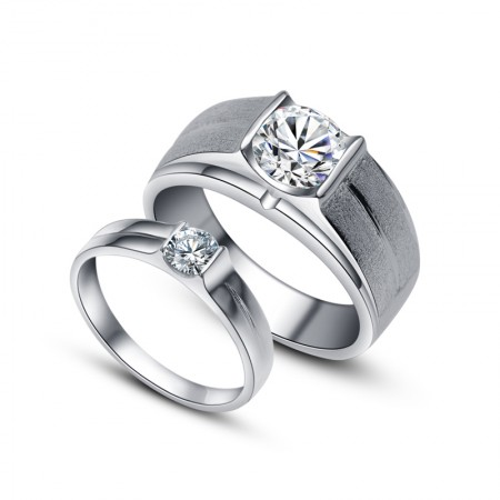 Pure And Noble 925 Sterling Silver With High Simulation Diamond Couple Rings