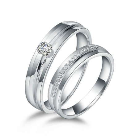 Exquisite Polished Smooth And Delicate 925 Silver Couple Rings