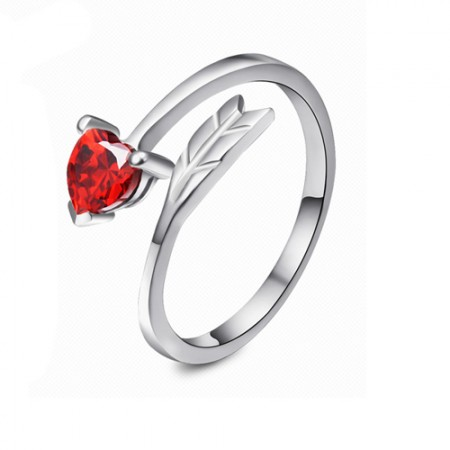 Gorgeous Heart Crystal 925 Sterling Silver With White Gold Plated 'Arrow of Cupid'  Adjustable Ring