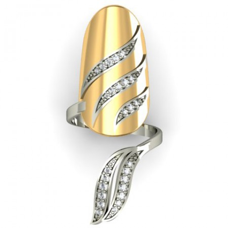 Exquisite Leaves Shape CZ Inlaid Gold-plated Nail Cocktail Ring
