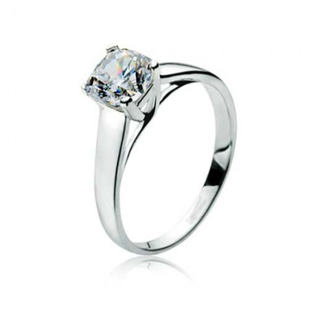 1.04CT Cushion Cut Created White Diamond Rhodium Plated 925 Sterling Silver Women's Engagement Ring