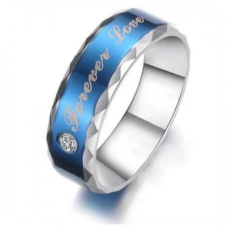 """Forever Love"" Design Blue Titanium Steel Men's Ring"