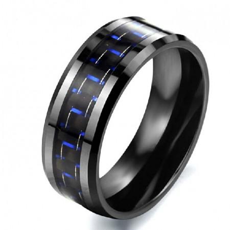 Blue Carbon Fibre Ceramic Titanium Steel Men's Ring
