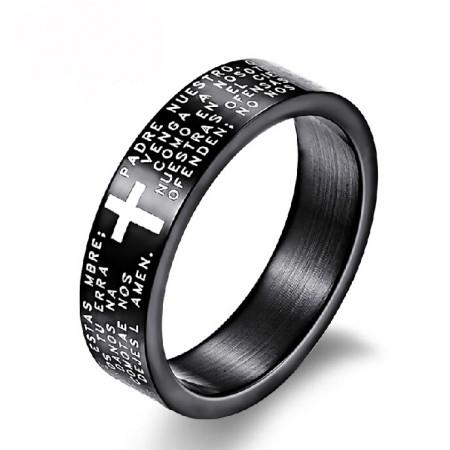 Cool Cross Letters Titanium Steel Men's Ring