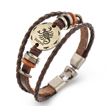 12 Constellations Multi-layer Weave Leather Bracelets