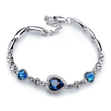 Blue Heart Crystal Bracelet 18K Gold Plated For Women