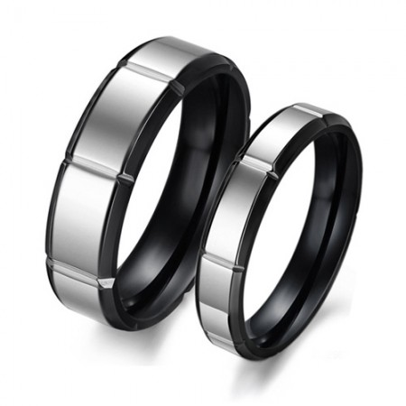 New Titanium Steel Black Band Simple Style Couple Rings