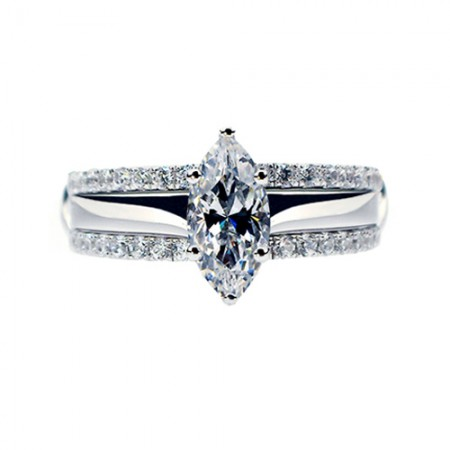 Marquise Cut Cubic Zirconia 925 Sterling Silver Platinum Plated Women's Stack Engagement/Wedding Ring