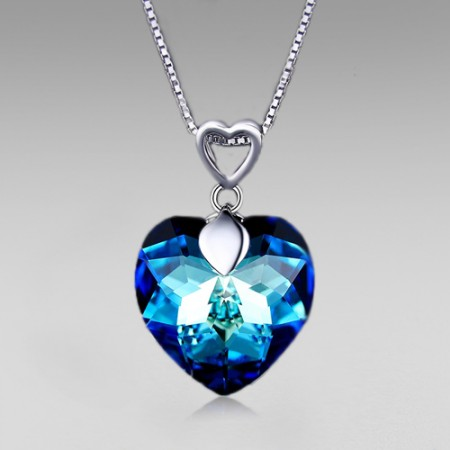 Blue Heart Crystal Pendant with 925 Sterling Silver Chain Women's Necklace