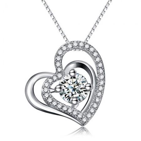Double Heart Design Pendant 925 Sterling Silver Cubic Zirconia Women's Necklace