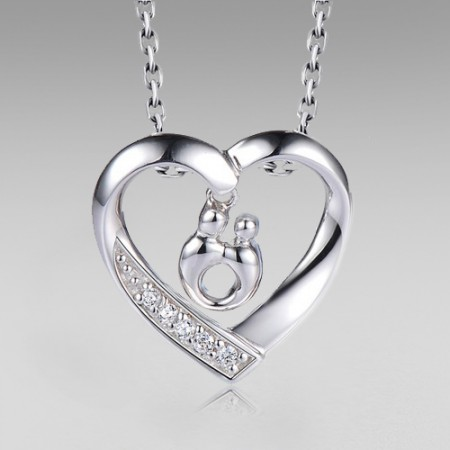 Mother's Love Theme 925 Sterling Silver White Gold Plated Women's Necklace