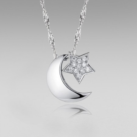 925 Sterling Silver Moon and Star with Cubic Zirconia Pendant Women's Necklace