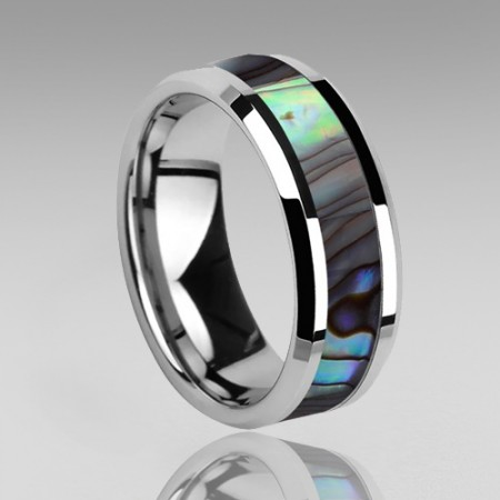 8mm Mens Tungsten Ring With Abalone Shell Inlay Wedding Ring