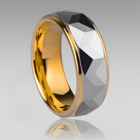 Tungsten Steel Gold Plated Inside Men's Fashion Ring