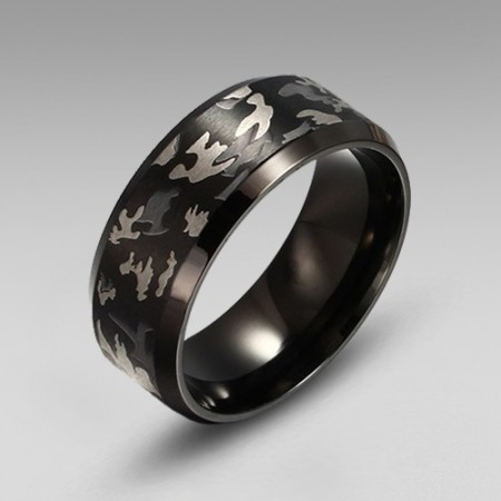 Camo Titanium Steel Men's Ring/Band Black Plated Inside