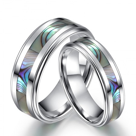 Engravable Tungsten Band For His And Her With Seashell Inlaid