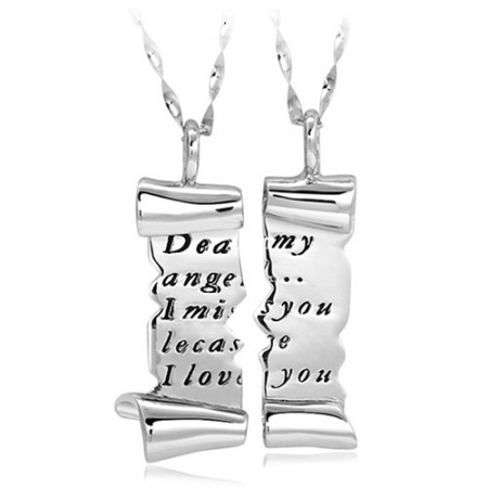 Romantic Torn Love Letter Lover's Sterling Silver Necklaces(Price For A Pair)