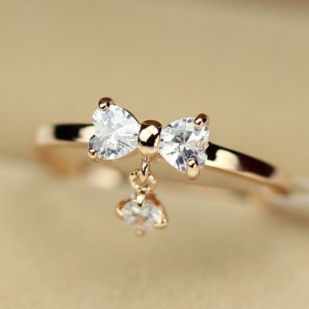 Lovely Exquisite Crystal Bowknot with Crystal Charm Alloy 14K Gold Plated Women's Ring
