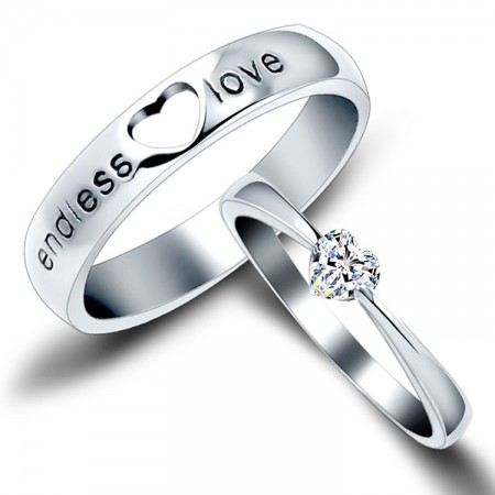 new fashion endless love heart shape unique 925 sterling silver lovers heart couple rings - Silver Wedding Rings For Her