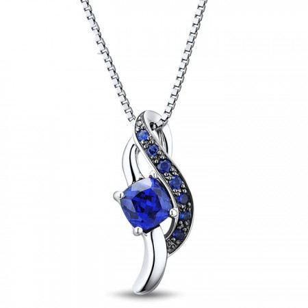 Amazing 925 Sterling Silver Blue Gemstone Necklace For Women