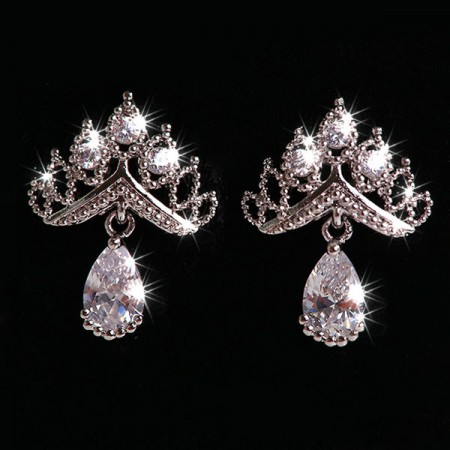 Shining Crown Shape 925 Silver Drop Earrings For Women