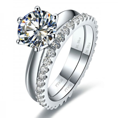 Classical Platinum Plated Sterling Silver Engagement Ring Sets With Rhinestone