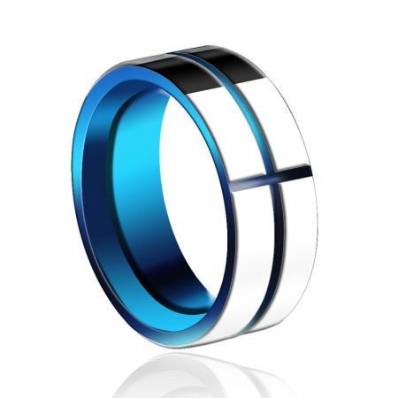 New Stylish Blue Cross Tungsten Men's Ring