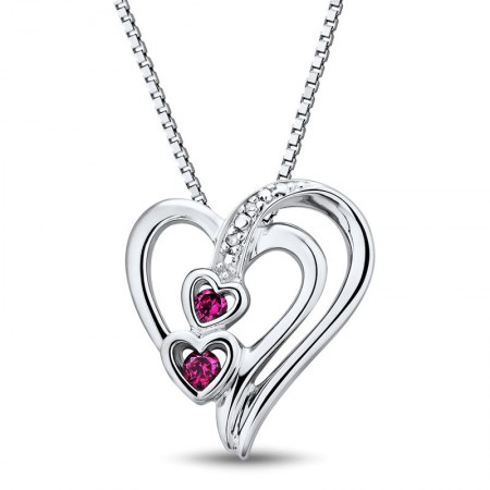 Exquisite Red Gemstone 925 Sterling Silver Heart Women's Necklace
