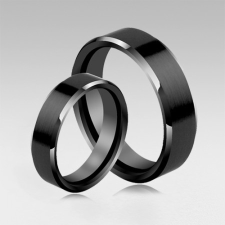 Simple Design Tungsten Black Or Sliver Couple Rings