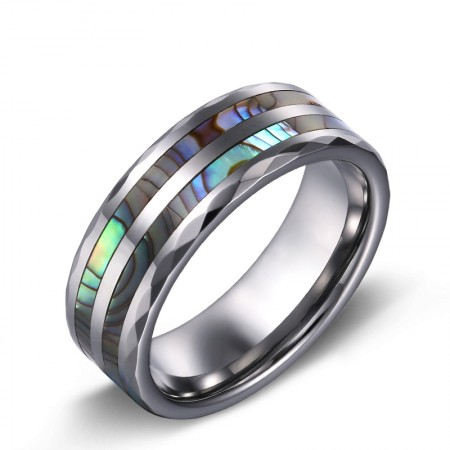 Fashion Personality Tungsten Inlaid Shell Wide Men's Ring
