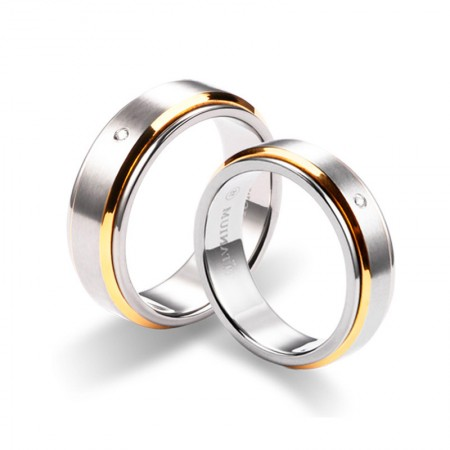 Couples Pure Titanium Gold Engravable Wedding Band With Cubic Zirconia