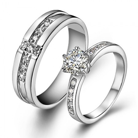 S925 Silver Cubic Zirconia Couple Rings