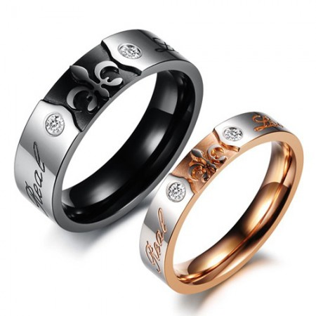 Romantic Real Love Crystal Inlaid Stainless Steel Lover's Rings(Price For a Pair)